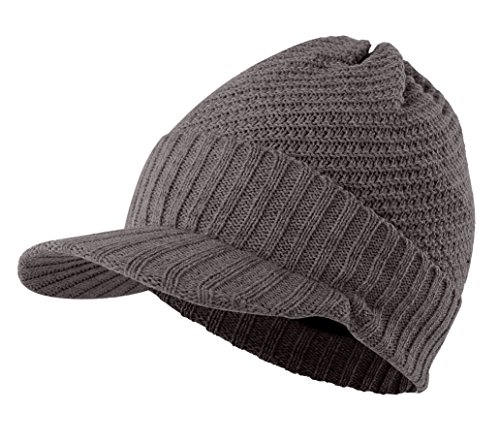 Home Prefer Mens Winter Hat With Cuff Visor Beanie Warm Fleece Knitted Hat Cap Dark Gray