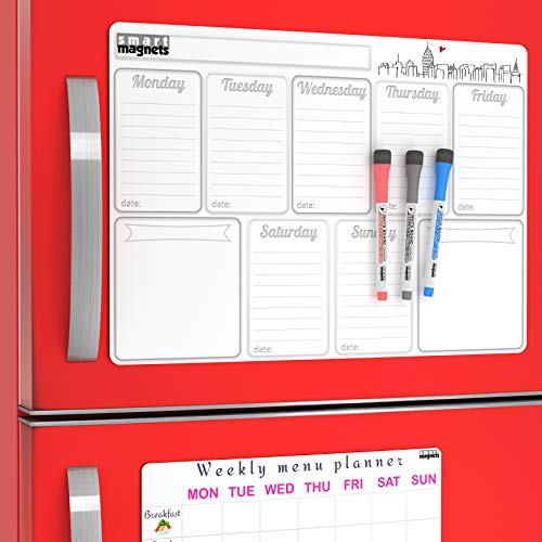 - Dry Erase Calendar - Set - Magnetic Dry Erase Weekly Calendar for Refrigerator ( with Grocery To Do List ) and Week Magnetic Menu Board for Fridge - Magnetic Whiteboard Organizer Kit for Kitchen
