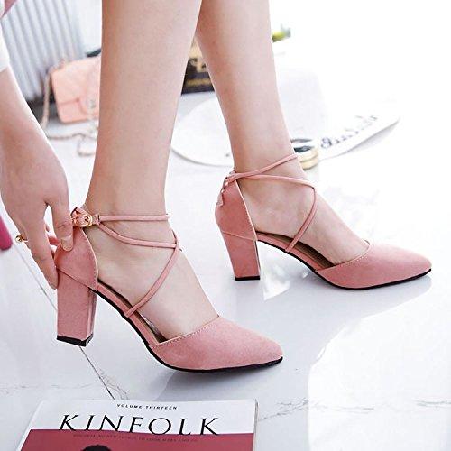 y tacón RUGAI UE verano de afilados moda cómodos gruesos de Pink nuevos mujer de zapatos Sandalias xOp4wrqO