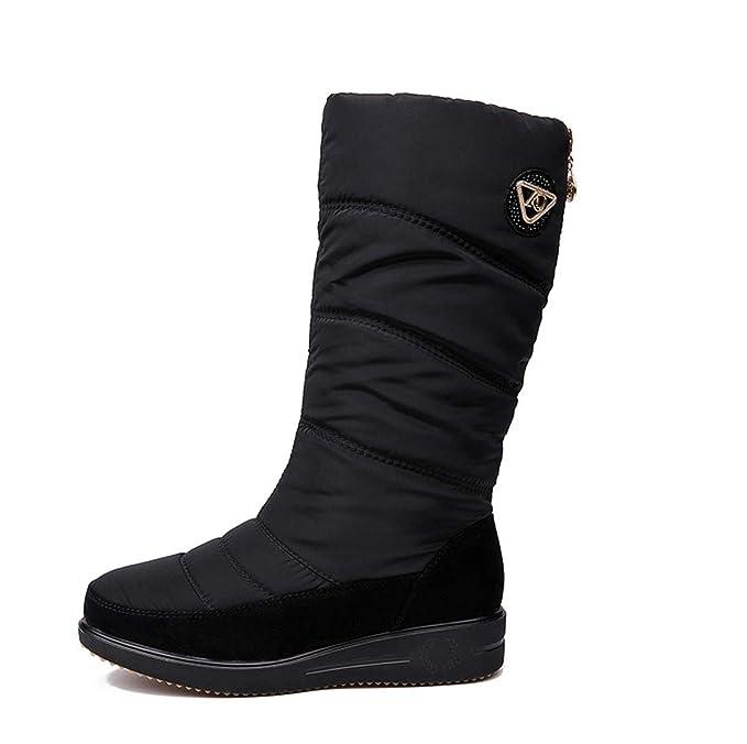 64bd302b5c30c DANDANJIE Botas de Nieve para Mujer Zapatos de tacón de cuña Plana Invierno  cálido Mediados de Becerro Botas de equitación Negro