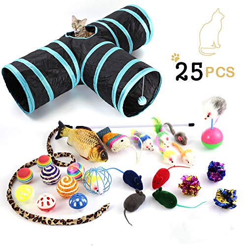 Cat Toys Variety Pack, Including 3 Way Tunnel with Ball, Teaser Wand, Interactive Feather Toy, Fluffy Mouse, Crinkle Balls, Catnip Fish for Kitty, Puppy, Rabbit. Multicolor (25pcs)