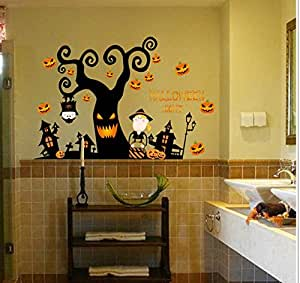 Halloween Decorations Pumpkin Wall Sticker Halloween Party Decoration Witch Bat Decal for Wall Windows Sticker mm