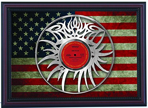 Bob Dylan Highway 61 Revisited Eye Logo Custom Cherry Framed Laser Cut Platinum LP & Flag Display