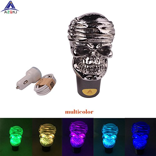 AZQKJ Touch Activated LED Illuminated Skull Gear Stick Shift Shifter Knob Lever Cover Universal Fit For Most Manual transmission vehicles - Illuminated Gear Knob