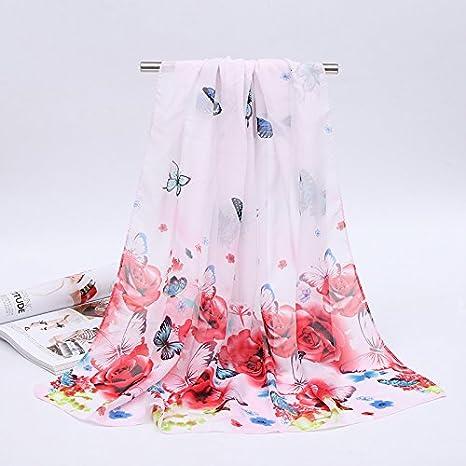 ZHANGYONG Lady Butterfly Chiffon Pequeña Bufanda Bufanda Bufanda Bufandas Toalla de Playa Playa servilletas 160cm*