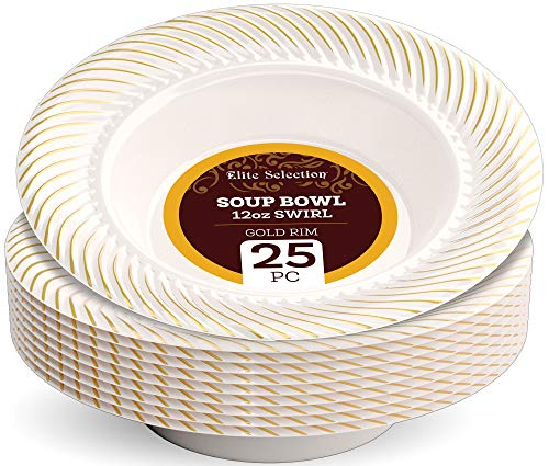 Disposable Plastic Soup Bowls - 25 Pack 12 Oz. Cream Bowl with Elegant Gold Swirl Rim Design for Wedding, Birthday, Dinner Party - by Elite -