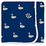Best Swan Baby Oils - Kickee Pants Print Swaddling Blanket - Navy Queen's Review
