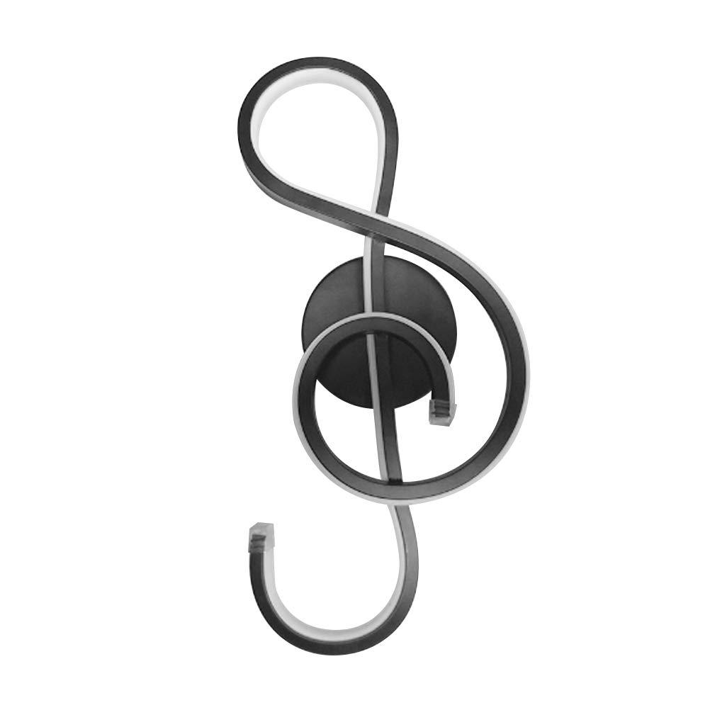 LEDMOMO Notas Musicales Notas de Pared Lá mparas de Pared para el Dormitorio Lá mparas de luz led Creativas para el Dormitorio 22w - Luz cá lida (Negro)