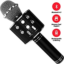 Belso Wireless Handheld Karaoke Microphone for iPhone, iPad, Android Smartphones and Tablets with Built-In Speakers and Improved Sound (Black)