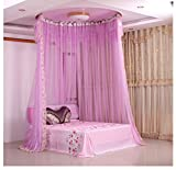 CUSHIONLIU Round Bed Mosquito Net - Guide Rail Suction Dome Dome Princess Mosquito Net Track Bed Mantle Plastic Single Track?Violet?2.0M (6.6 Ft) Bed