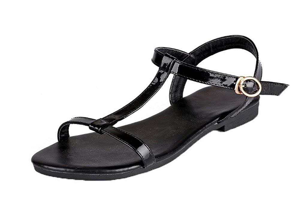 AalarDom Womens Patent Leather Solid Buckle Open-Toe Sandals