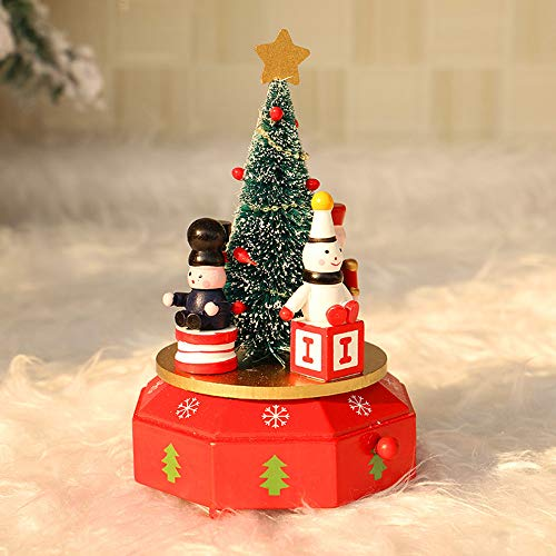 Cocal Creative Fashion Design Wooden Music Box Christmas Decoration Ornament Kids Toy Children Gift, Full of Christmas Atmosphere (A)