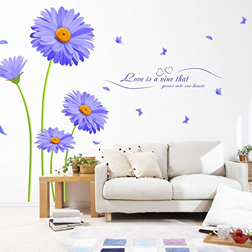 [Money coming shop Aster Novi-belgii Purple Chrysanthemum DIY Wall Stickers Living Room TV/Sofa Backdrop Decor Mural Decal] (Diy Halloween Decor)
