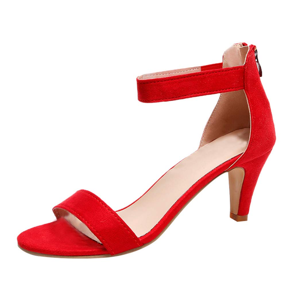 Seaintheson Women's Fish Mouth Zipper Sandals Summer Ankle High Heels Party Open Toe Shoes Red