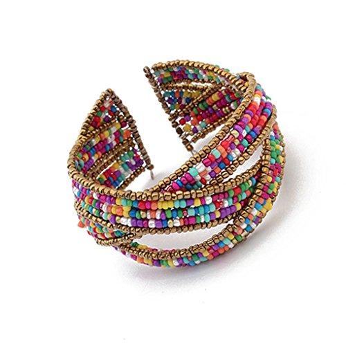 Bohemia Beads Bracelets Weave Open Bangles Women Fashion Jewelry