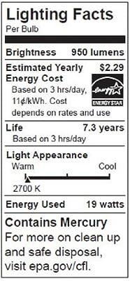 TCP 1R4019 CFL R40 - 85 Watt Equivalent (19W) Soft White (2700K) Flood Light Bulb