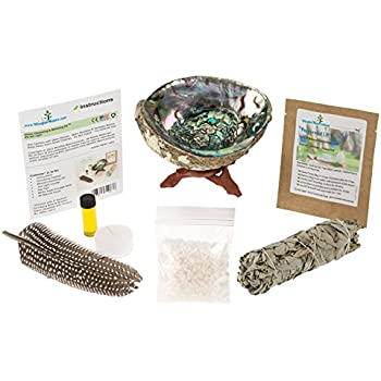 Home Cleansing & Blessing Kit ™ with Abalone Smudging Bowl & Wooden Stand -:- California White Sage Smudge Stick + Smudging Feather + Blessed Anointing Oil + Tea Light Candle + Coarse Grain Sea Salt