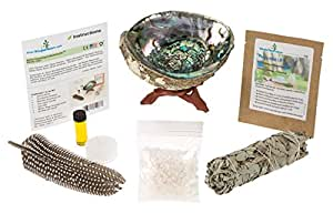 Home Cleansing & Blessing Kit with Abalone Smudging Bowl & Wooden Stand -:- California White Sage Smudge Stick + Smudging Feather + Blessed Anointing Oil + Tea Light Candle + Coarse Grain Sea Salt