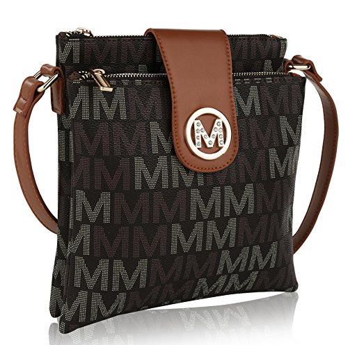 MKF Crossbody Bags for women - Adjustable Strap - Vegan Leather - Crossover Side Messenger Womens Purse Brown