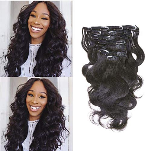 Beauty : Anrosa Virgin Brazilian Hair Extensions Clip in Weave Extensions for Women Body Wave Hair Clip ons Natural Hair Clip ins Natural Black Extensions Hair Natural 120 Gram 10 Inch