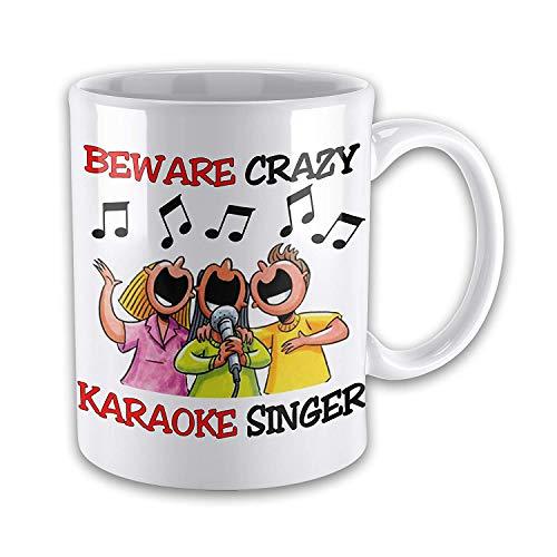 FiuFgyt Beware Crazy Karaoke Singer Novelty Coffee Mugs for Men Ceramic Mug Funny for Women 11oz