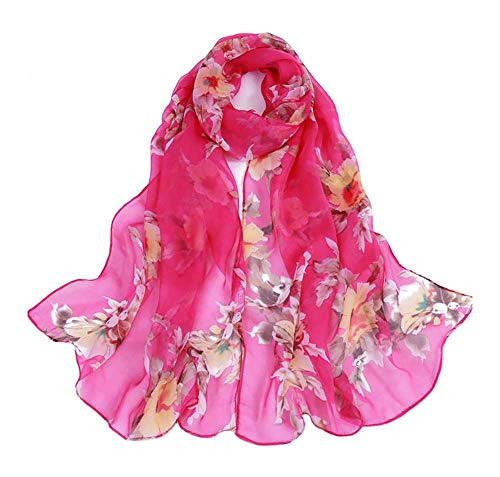 (Print Silk Feeling Scarf Fashion Scarves Lightweight Sunscreen Shawls for Women (peach blossom&Rose Red))
