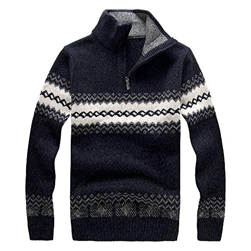 ANJUNIE Men's Snow Printed Sweater Long Sleeve Blouse Zipper Shirt Knitted Top(Navy,XXL)