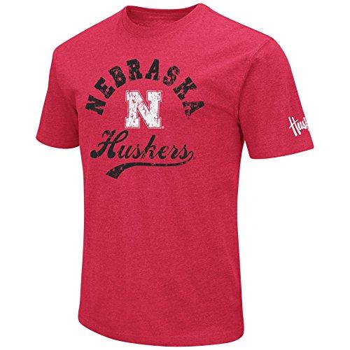 NCAA Colosseum Men's Vintage Dual-Blend T-Shirt with 2 Logos (Nebraska Cornhuskers-Scarlet, ()