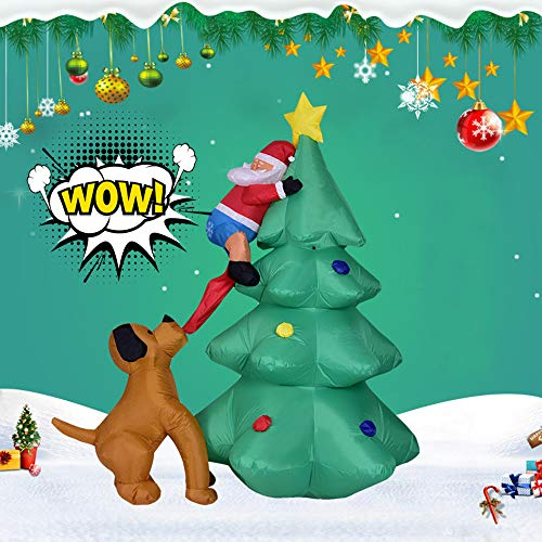 LtrottedJ Inflatable Santa Claus Climbing Christmas Tree Chased Dog LED Lights Yard Decor