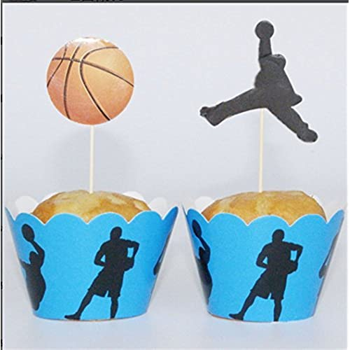 Yunko Set Of 24 Playing Basketball Cake Cupcake Decorative Cupcake Topper  For Kids Birthday Party Themed Party Baby Shower