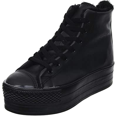 d812208a2d61e Maxstar Women's CN2 7 Holes Roose Fur Platform Canvas High Top Sneakers