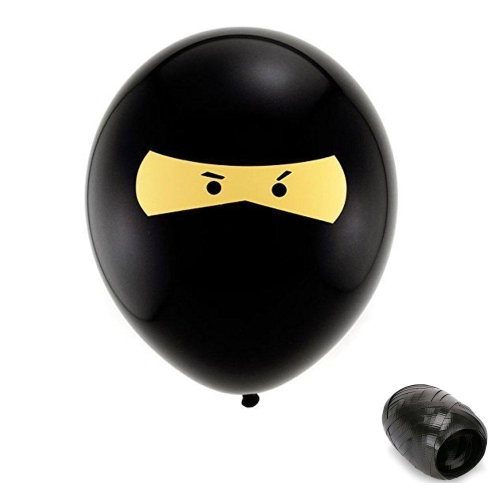 10 Pack 11 Ninja Latex Balloons with Matching Ribbons