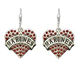 FTH USA MARINES Engraved Heart Earrings are Embellished with Red Crystal Rhinestones.Show Your PRIDE!