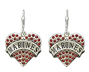 FTH USA MARINES Heart Earrings Embellished with Red Crystal Rhinestones. MARINES is engraved in the Center. She will love this!