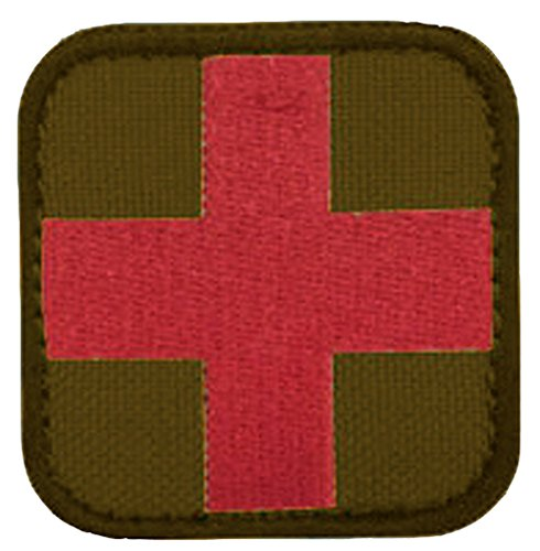 EMBROIDERED RED CROSS PATCH- RED ON TAN
