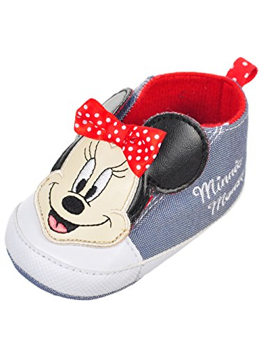 Disney Minnie Mouse Baby Infant Sneaker Booties - Chambray Blue, 6-9 Months (Applique Baby Booties)