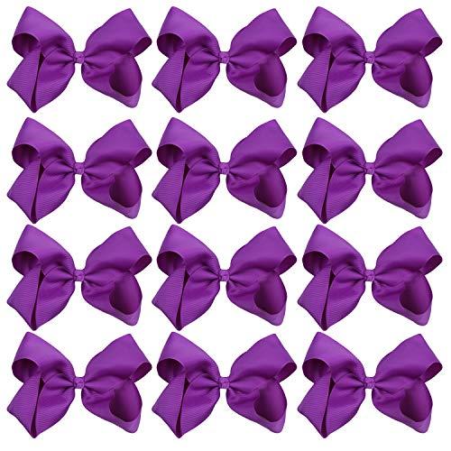 Large Boutique Hair Bows 6 Inch Cheerleading Cheerleader Cheer Bow Alligator Clips(Dark Purple) ()
