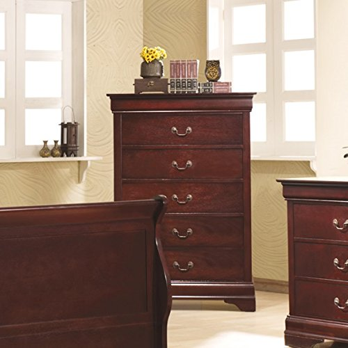 (Louis Philippe 5-Drawer Chest Red Brown)