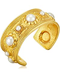 Spring Blush Pearl Gold Cuff Bracelet