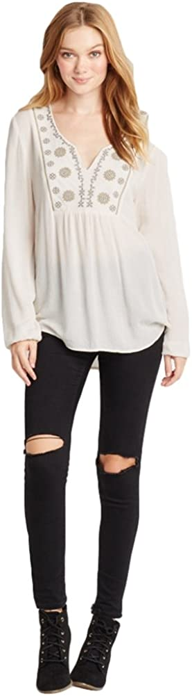 AEROPOSTALE Womens Embroidered V Neck Tunic Blouse