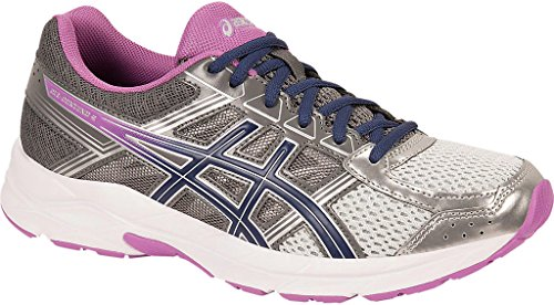 ASICS Women's Gel-Contend 4 Running Shoe, Silver/Campanula/Carbon, 6.5 M US