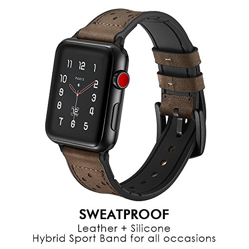 RUCHBA Hybrid Leather Sports Band Compatible with Apple Watch 42mm 44mm Luxury Comfort Practicality Sweatproof Silicone Leather Replacement Straps Compatible with iwatch Space Black 4 1 2 3 Dark Brown