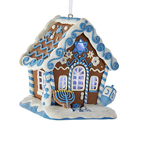 Kurt Adler Gingerbread Led Hanukkah House Ornament -