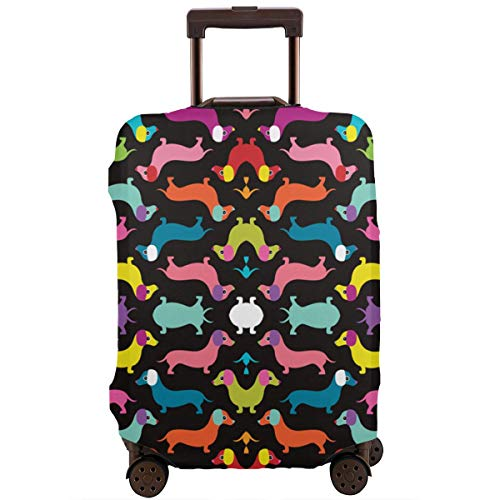 Travel Luggage Protector, Washable Stretchy Zipper Luggage Suitcase Cover, Anti-Scratch Baggage Cover bag - Fits 18-28 Inch Luggage (Colorful Dachshund Dogs)]()
