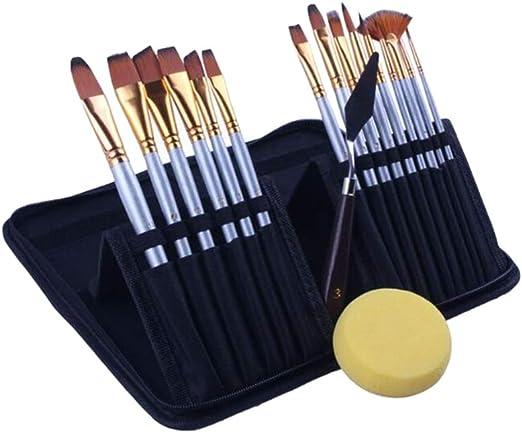Supvox 15 UNIDS Cepillo de Pintura de Nylon Pelo Artista Pinceles Artista Pinceles para Pintar Acrílico Pincel para Acuarela Óleo Acrílico Artesanía Pintura: Amazon.es: Hogar