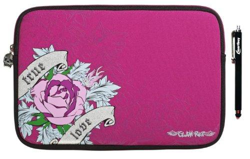 Emartbuy ® Negro Stylus + Glamrox Pink Rose (10-11 Pulgadas Tablet / Ereader / Netbook) Neopreno Duradero Con Acolchado Interior De Caja Zip Soft / Cubierta Adecuada Para Sony Xperia Tablet Z