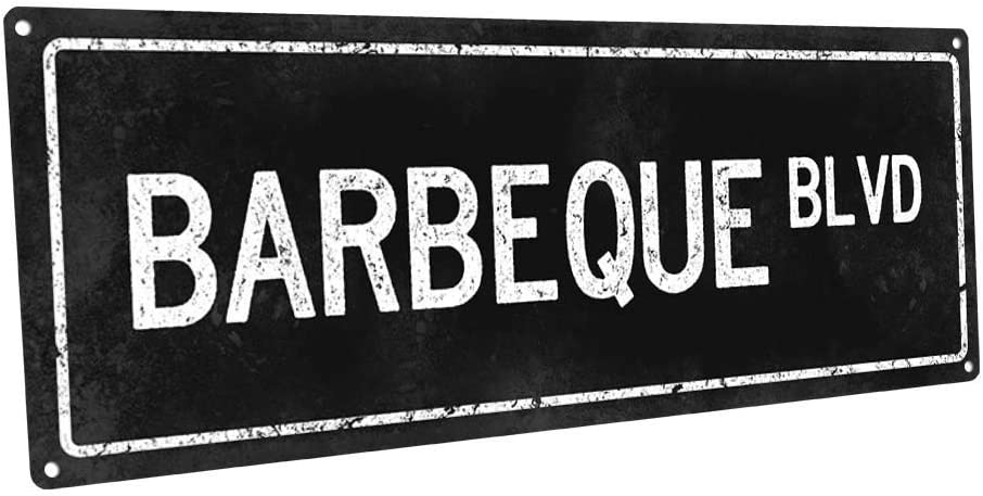 Flowershave357 Black Barbeque BLVD Metal Sign Wall Decor for Porch Patio and Deck