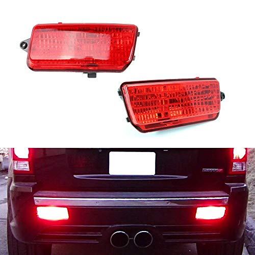 iJDMTOY Complete LED Rear Fog Light Kit For 2005-2010 Jeep Grand Cherokee WK1, Includes Brilliant Red LED Bulbs, Red Lens Foglamp Assemblies & Wiring Harness ()