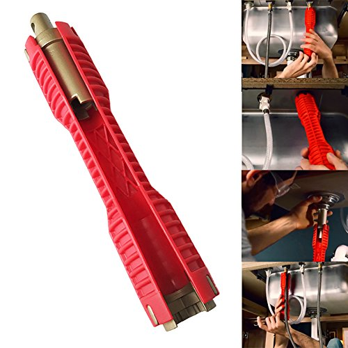 (SODIAL 2018 New Faucet and Sink Installer Extra-long design lets turn tool Red)