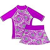 grUVywear Girls Rash Guard Sun Protective UV Swim Shirt & Bikini Swim Skirt Set (Small / 5-6, Hippy Peace)